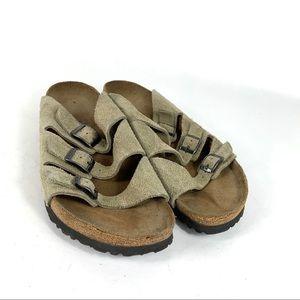 Birki's Birkenstocks Tan Suede 3 Strap Sandals